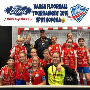 Vaasa floorball tournament 2018 hopea sija SPV peliveljet D tytöille